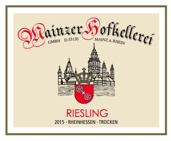 Mainzer Hofkellerei Gmbh Riesling 2015 0,75 L Ökologischer Wein