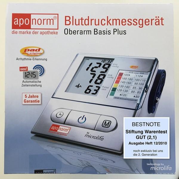 "Aponorm Basis Plus Stiftung Warentest ""gut"" 12/2010 Oberarm Blutdruck Messgerät"
